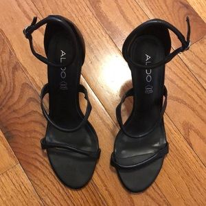 Strappy Black leather heels